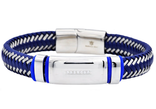 Mens Blue Leather And Blue Stainless Steel Bracelet With Cubic Zirconia - Blackjack Jewelry