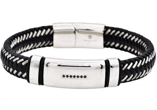 Mens Black Leather And Stainless Steel Bracelet With Black Cubic Zirconia