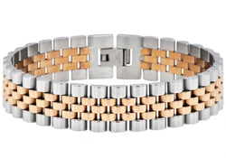 Mens Rose Plated Stainless Steel Bracelet