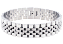 Load image into Gallery viewer, Mens Stainless Steel Watch Style Link Bracelet - Blackjack Jewelry