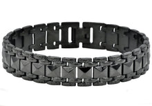 Load image into Gallery viewer, Mens Black Plated Stainless Steel Pyramid Link Bracelet - Blackjack Jewelry