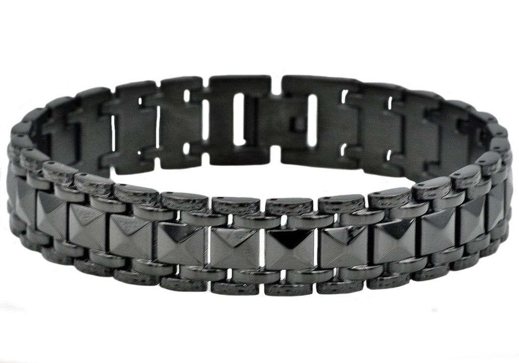Mens Black Plated Stainless Steel Pyramid Link Bracelet - Blackjack Jewelry