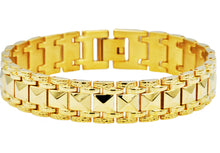 Load image into Gallery viewer, Mens Gold Plated  Fancy Textured Stainless Steel Bracelet - Blackjack Jewelry