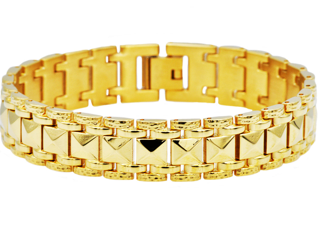 Mens Gold Plated  Fancy Textured Stainless Steel Bracelet - Blackjack Jewelry