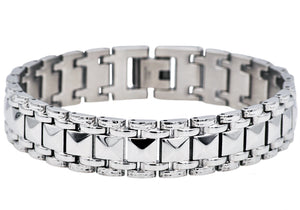 Mens Polished Stainless Steel Pyramid Link Bracelet - Blackjack Jewelry