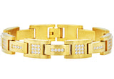 Mens Gold Plated Stainless Steel Bracelet With Cubic Zirconia