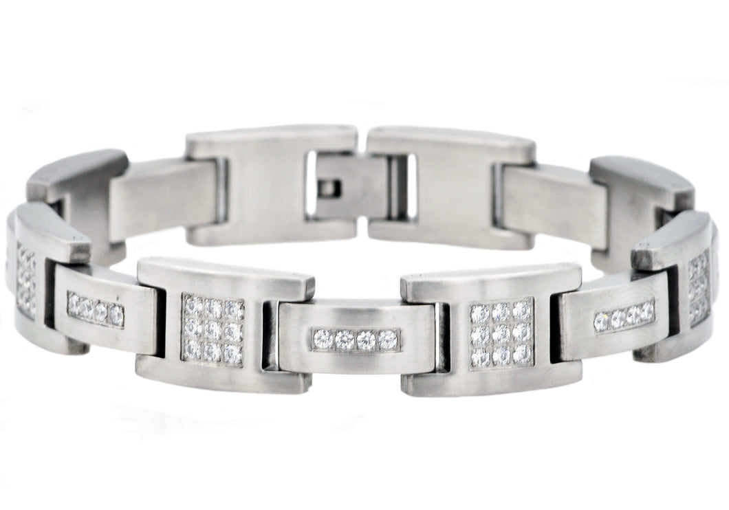 Mens Matte Stainless Steel Bracelet With Cubic Zirconia - Blackjack Jewelry