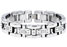 Load image into Gallery viewer, Mens Stainless Steel Link Bracelet With Cubic Zirconia - Blackjack Jewelry