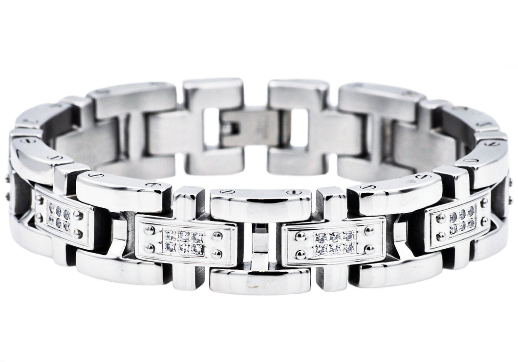 Mens Stainless Steel Link Bracelet With Cubic Zirconia - Blackjack Jewelry