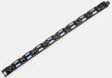 Mens Blue Carbon Fiber And Black Plated Stainless Steel Bracelet