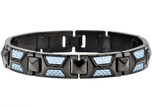 Mens Blue Carbon Fiber And Black Plated Stainless Steel Bracelet - Blackjack Jewelry
