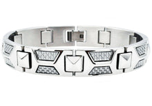 Load image into Gallery viewer, Mens White Carbon Fiber Stainless Steel Bracelet - Blackjack Jewelry