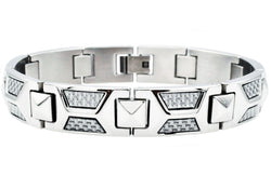 Mens White Carbon Fiber Stainless Steel Bracelet - Blackjack Jewelry