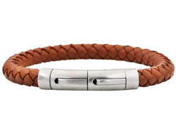 Mens Brown Leather Stainless Steel Extendable Bracelet - Blackjack Jewelry
