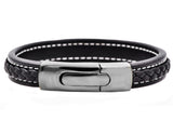 Mens Gunmetal Plated Stainless Steel Black Leather Bracelet