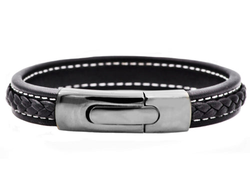 Mens Gunmetal Plated Stainless Steel Black Leather Bracelet - Blackjack Jewelry