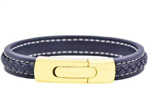 Mens Gold Plated Stainless Steel Blue Leather Bracelet - Blackjack Jewelry
