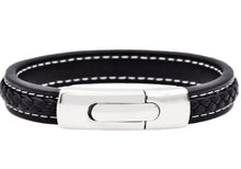 Load image into Gallery viewer, Mens Stainless Steel Black Leather Bracelet - Blackjack Jewelry