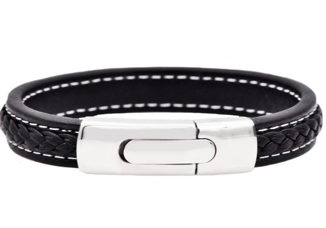 Mens Stainless Steel Black Leather Bracelet - Blackjack Jewelry