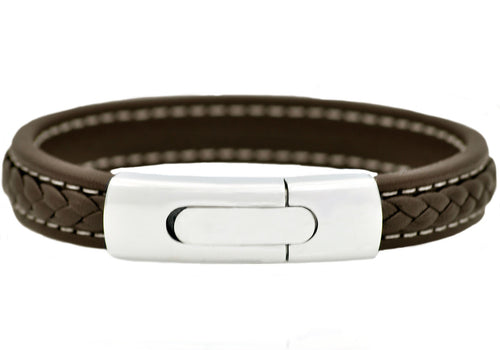 Mens Stainless Steel Brown Leather Bracelet - Blackjack Jewelry