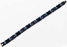 Load image into Gallery viewer, Mens Black And Blue Stainless Steel Link Bracelet With Blue Stripes - Blackjack Jewelry