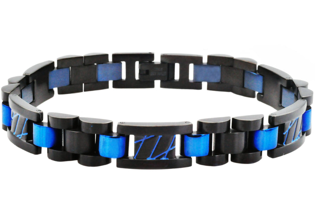 Mens Black And Blue Stainless Steel Link Bracelet With Blue Stripes - Blackjack Jewelry