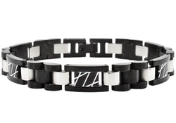 Mens Black Plated Stainless Steel Link Bracelet - Blackjack Jewelry