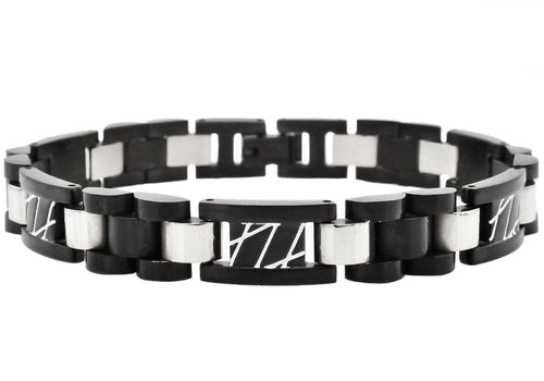 Mens Black Plated Stainless Steel Link Bracelet With White Stripes - Blackjack Jewelry