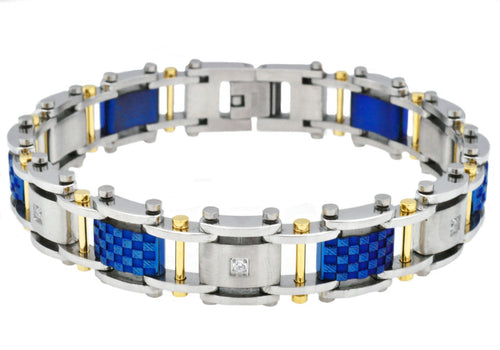 Mens Blue And Gold Plated Stainless Steel Bracelet With Cubic Zirconia - Blackjack Jewelry