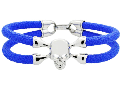 Mens Blue Leather And Stainless Steel Skull Bracelet - Blackjack Jewelry