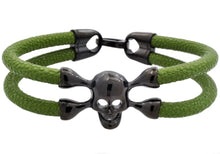 Load image into Gallery viewer, Mens Green Leather And Black Plated Stainless Steel Skull Bracelet - Blackjack Jewelry