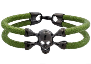 Mens Green Leather And Black Plated Stainless Steel Skull Bracelet - Blackjack Jewelry