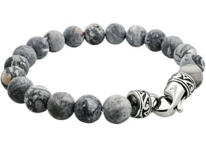 Mens Genuine Gray Jasper Stainless Steel Beaded Bracelet - Blackjack Jewelry