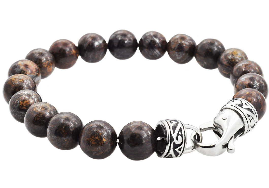 Mens Genuine Bronzinite Stainless Steel Beaded Bracelet - Blackjack Jewelry