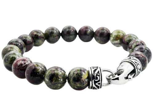 Mens Genuine Dragon Stone Stainless Steel Beaded Bracelet - Blackjack Jewelry