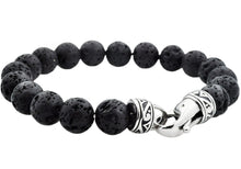 Load image into Gallery viewer, Mens Genuine Lava Stone Stainless Steel Beaded Bracelet - Blackjack Jewelry