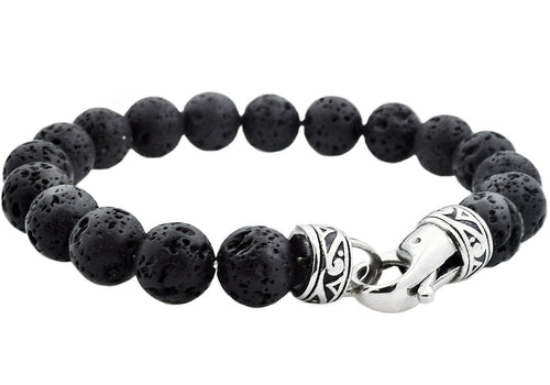 Mens Genuine Lava Stone Stainless Steel Beaded Bracelet - Blackjack Jewelry