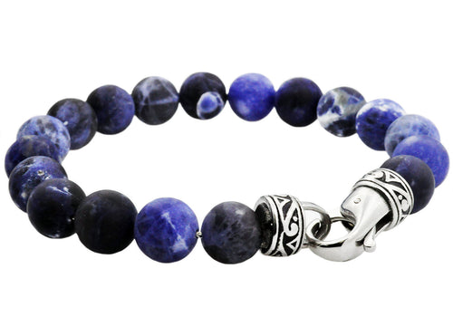 Mens Genuine Soladite Stainless Steel Beaded Bracelet - Blackjack Jewelry