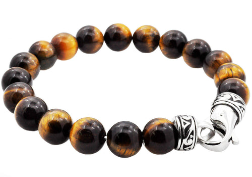 Mens Genuine Tiger Eye Stainless Steel Beaded Bracelet - Blackjack Jewelry