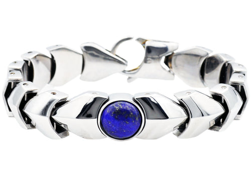 Mens Genuine Lapis Lazuli  Stainless Steel Bracelet - Blackjack Jewelry