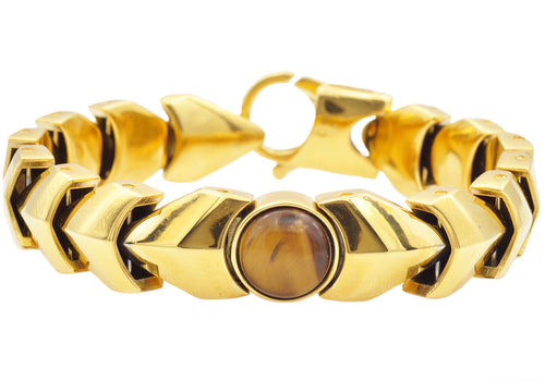 Mens Genuine Tiger Eye Gold Plated Stainless Steel Bracelet - Blackjack Jewelry
