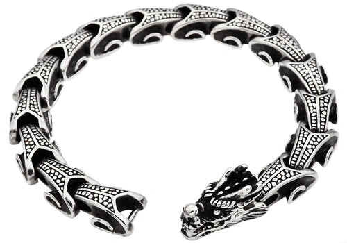 Mens Stainless Steel Dragon Bracelet - Blackjack Jewelry
