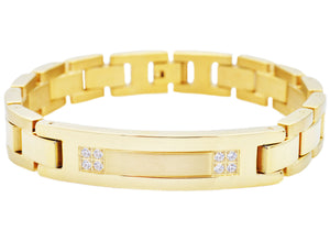 Mens Gold Plated Stainless Steel ID-Engravable Bracelet With Cubic Zirconia - Blackjack Jewelry