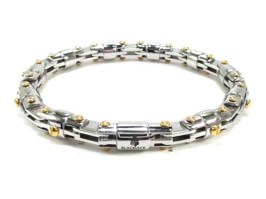 Mens Stainless Steel Bracelet With Gold Plated Screws