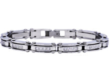 Load image into Gallery viewer, Mens Thin Stainless Steel Bracelet With Cubic Zirconia - Blackjack Jewelry
