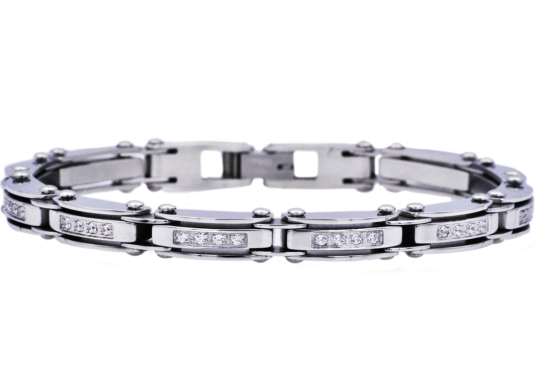 Mens Thin Stainless Steel Bracelet With Cubic Zirconia - Blackjack Jewelry