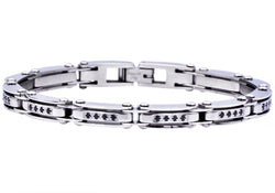 Mens Stainless Steel Bracelet With Black Cubic Zirconia