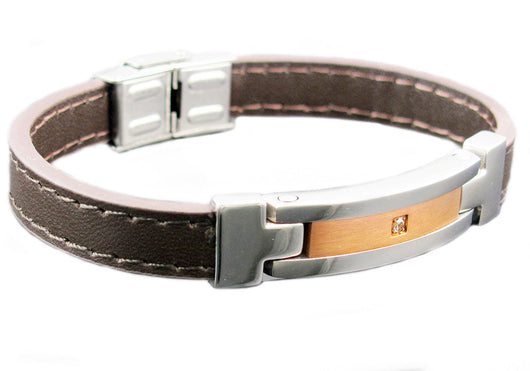 Mens Brown Leather And Stainless Steel Bracelet With Cubic Zirconia