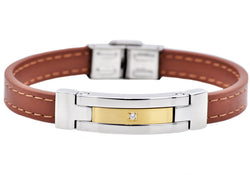 Mens Brown Leather And Gold Plated Stainless Steel Bracelet With Cubic Zirconia