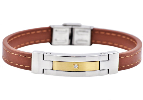 Mens Brown Leather And Gold Stainless Steel Bracelet With Cubic Zirconia - Blackjack Jewelry